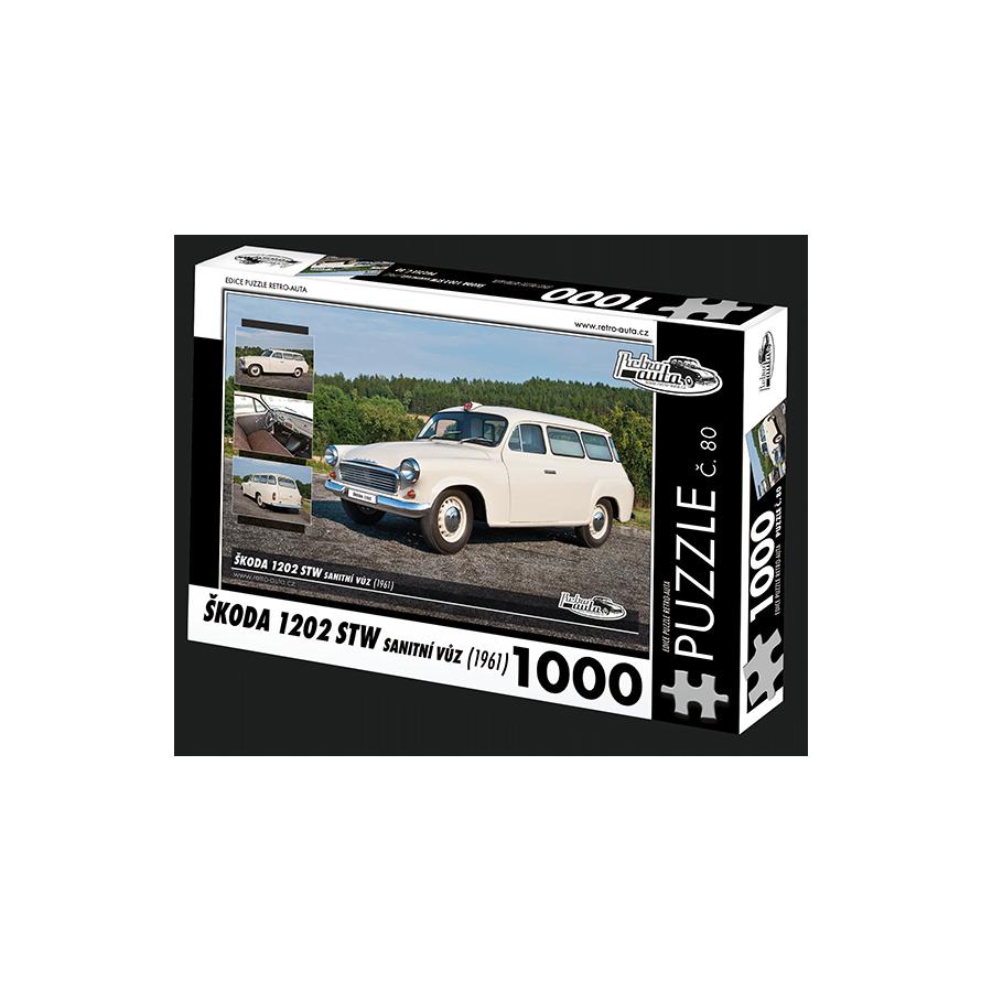 Škoda 1202 STW Sanitní vůz, 1000 dílků, puzzle 80