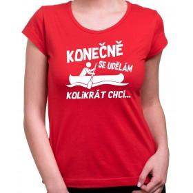 Vodácké tričko Konečně.. dámské červené