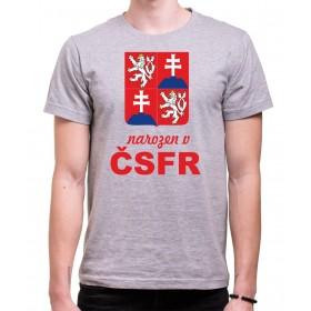 Tričko Narozen v ČSFR šedé