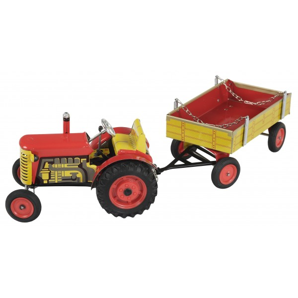 Traktor Zetor s valníkem, červený